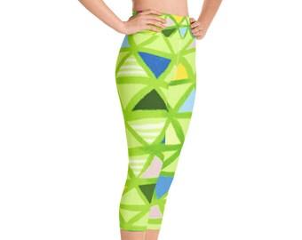 d6a6e8d4c9505 Abstract Green Angle, High Waist Yoga Capri Leggings With Pocket, Fun Lime  Green Triangle Yoga Capris, Workout Capri, Gym Capri