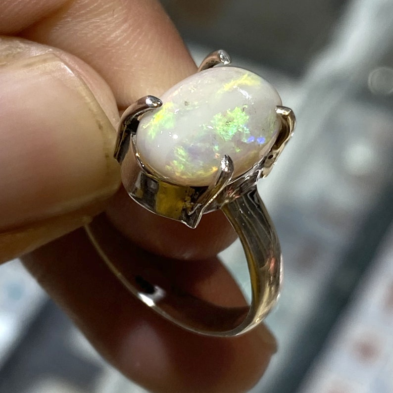 Amazing Natural Australian Opal Ring Multi Fire Stone 925 Solid Sterling Silver Ring Jewelry Handmade Opal Stone Size 13x9 mm Gift for Rings
