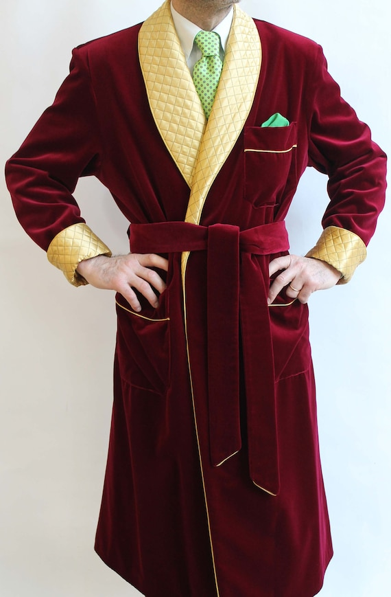 Mens Quilted Smoking Jacket Dinner Party Host Wear Blazer Coat Robe de Chambre