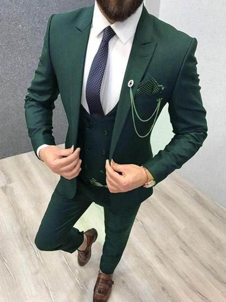 Men Suit Green 3 Piece Formal Fashion Wedding Groom Wear Slim Etsy [ 1061 x 794 Pixel ]