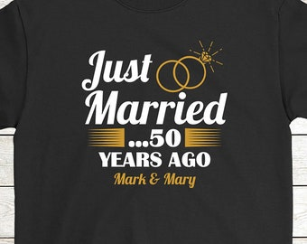1bb2e49380 Personalized Anniversary T-Shirt Funny Gift For Valentine's Day: Just  Married 50 Years Ago | Gift For Couple