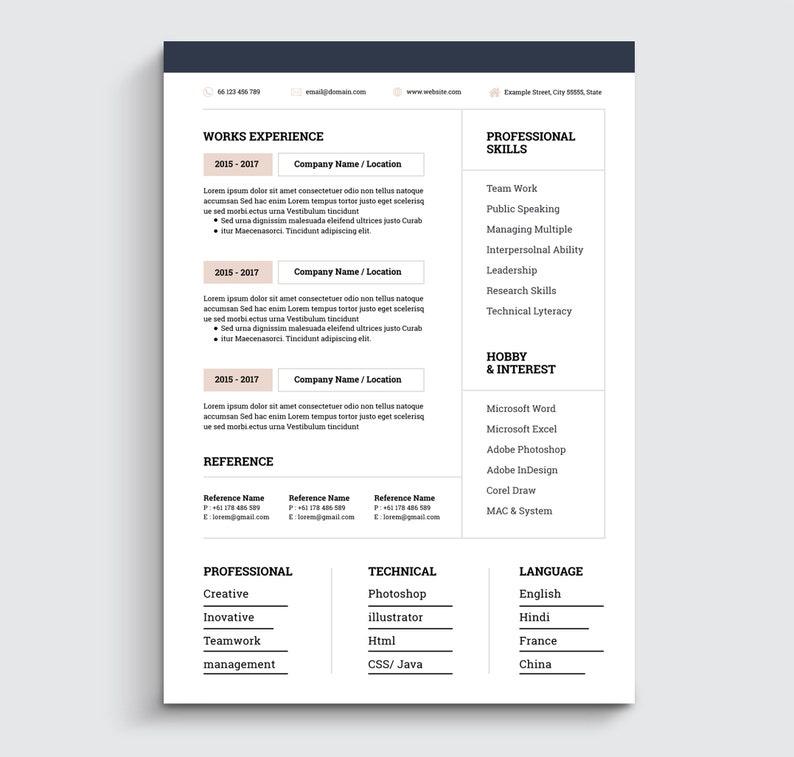 Creative Resume Template / CV Template + Cover Letter | Professional and  Modern Resume | Teacher Resume | Word Resume | Nurse Resume