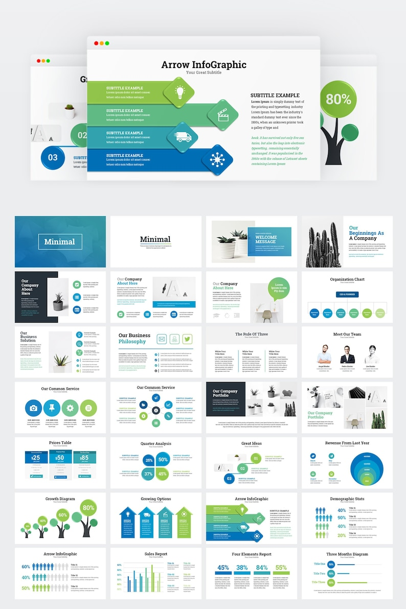 Business Infographic Presentation PowerPoint Template   Etsy