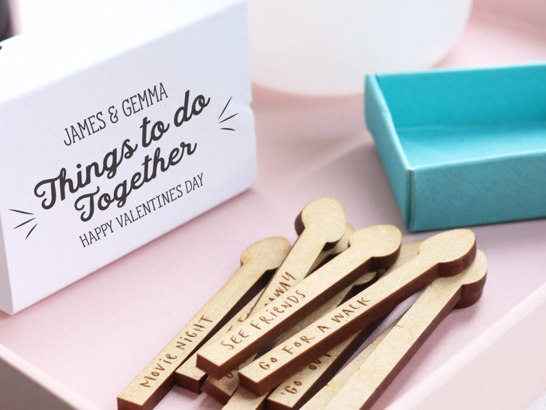 Personalised Activities For Couples in a Matchstick Box Cute Little Gifts Things To Do Together Matchstick Box Games Gifts for Couples
