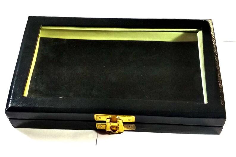 black GEMSTONE Diamond jewelry Display Storage wooden leather box Jewelry 15 Plastic boxes 3x3 cm transparent white