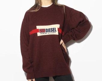 bf13f0a0 vintage Diesel Denim Division retro sweatshirt, mens sweater, womens sweater,  outfit unisex winter clothing, oversized sweatshirt, Size M