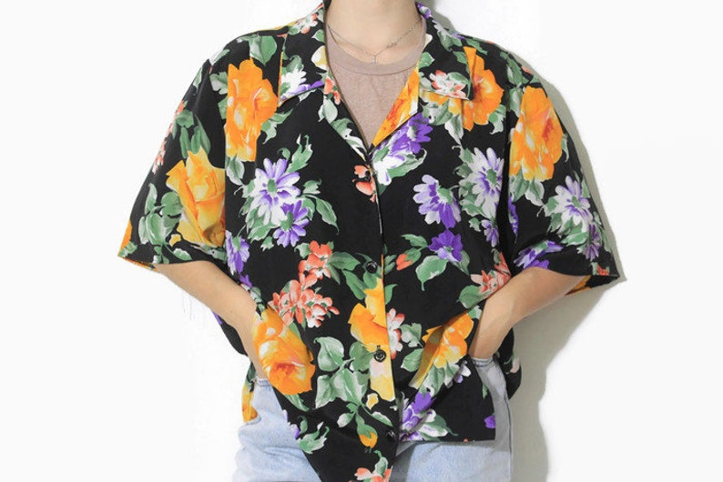 vintage Patterned Blouse women/'s button up rare retro 90s 80s shirt half sleeve light Size XL oversized colorway authentic stylish polyester