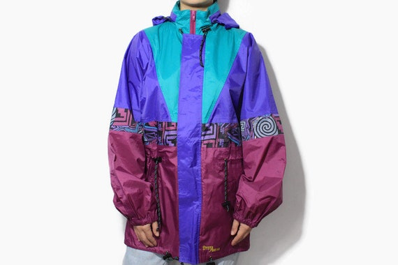 vintage Raincoat water resistant mens Jacket Size L authentic retro style acid colorway zipped up parka 90s 80s blue pink windbreaker hooded