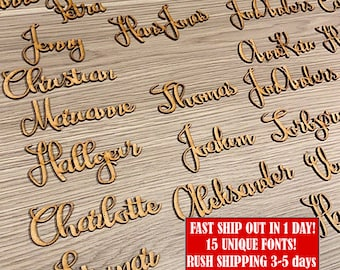 Wooden place cards Small laser cut names Personalized plate names Wood wedding tags Place name settings Custom babys first ornament Rustic