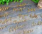 Wooden laser cut names Wedding place cards Name place settings Wooden wedding sign Rustic wedding names Laser cut wood Name tags for wedding