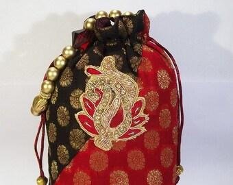 60f61fad52a0 Black Red Women Potli Bag Brocade Wedding Party Beaded Handwork Indian  Ethnic Traditional Designer New
