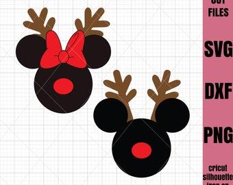 Mickey SVG Christmas Svg Disney svg Reindeer svg Minnie Svg File Cricut File Silhouette Cut file Iron on transfer file SVG File