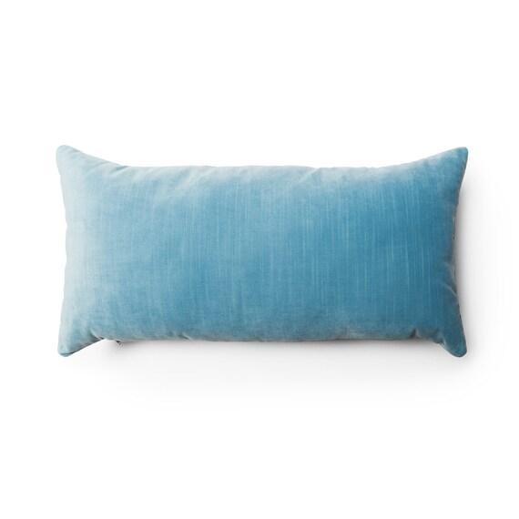 Astonishing Velvet Lumbar Pillow Cover Blue Throw Pillow Light Blue Cushion Cover Pillow Cover 12X18 14X24 16X26 Sofa Couch Lumbar Pillow Inzonedesignstudio Interior Chair Design Inzonedesignstudiocom