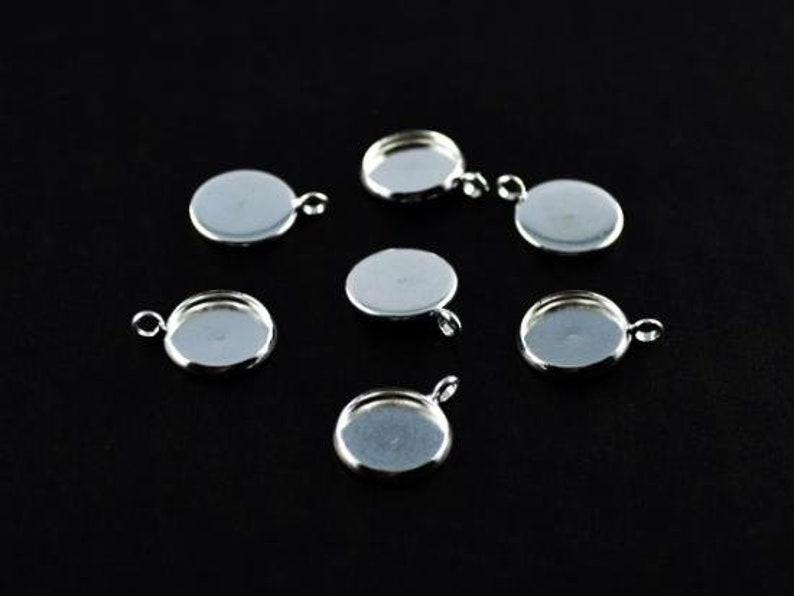 5 x Silver Boho Large Round Flower Charms Pendants Blank 14mm Cabochon Settings