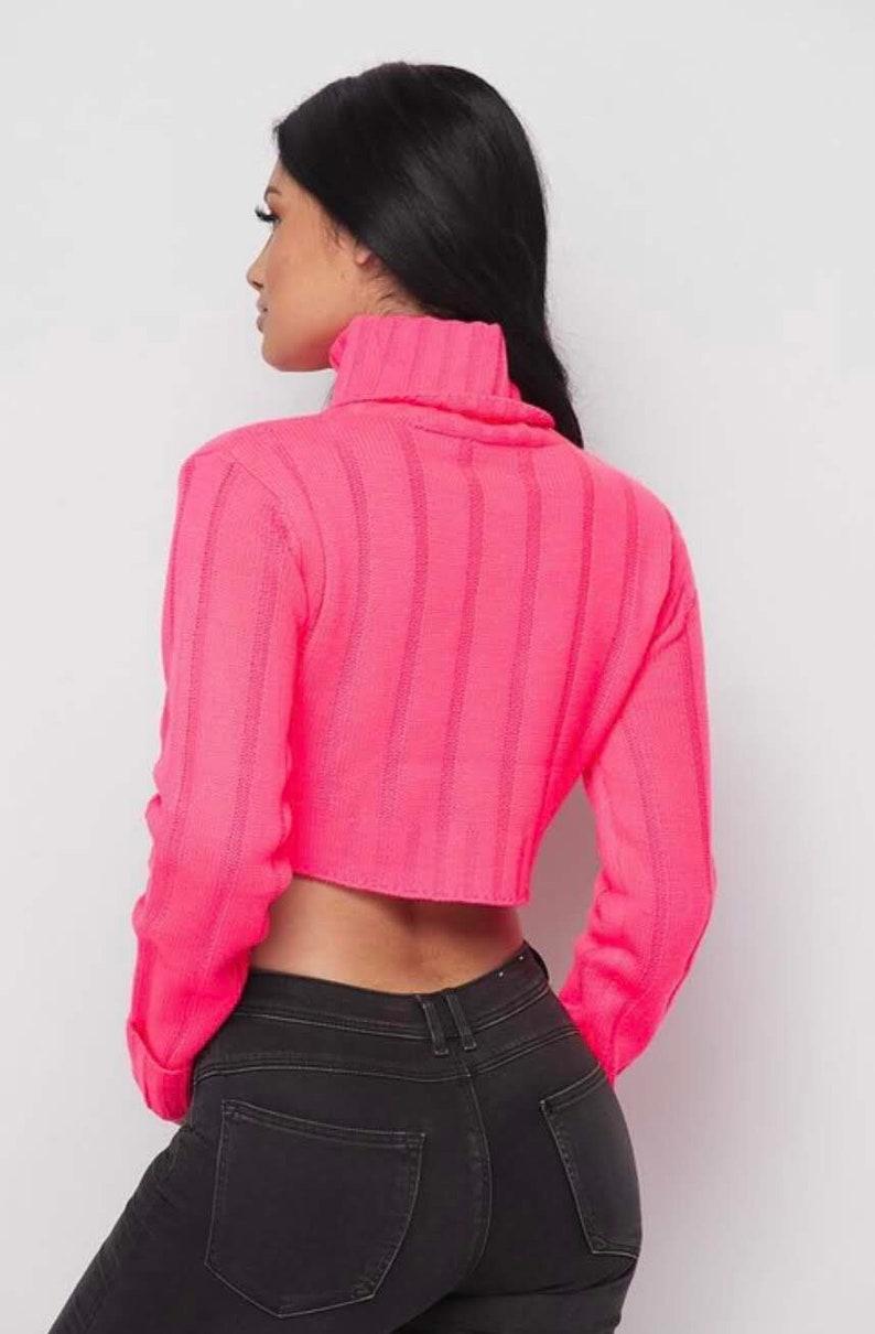 Neon PINK crop Sweater