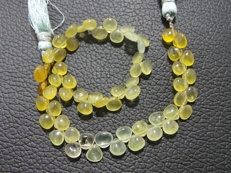 8.5 Strand For jewelry Making. Stone Size - 5.5x5.5-6x6 MM Natural Multi Yellow Aquamarine Heliodor Smooth Heart Shape Briolettes
