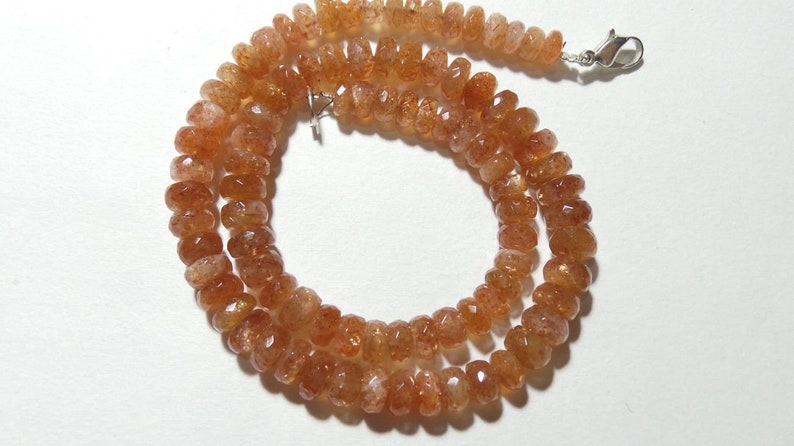 For jewellery Making Loose Gemstone Natural Sunstone Faceted Rondelle Beads size 6-8 MM 14 Strand
