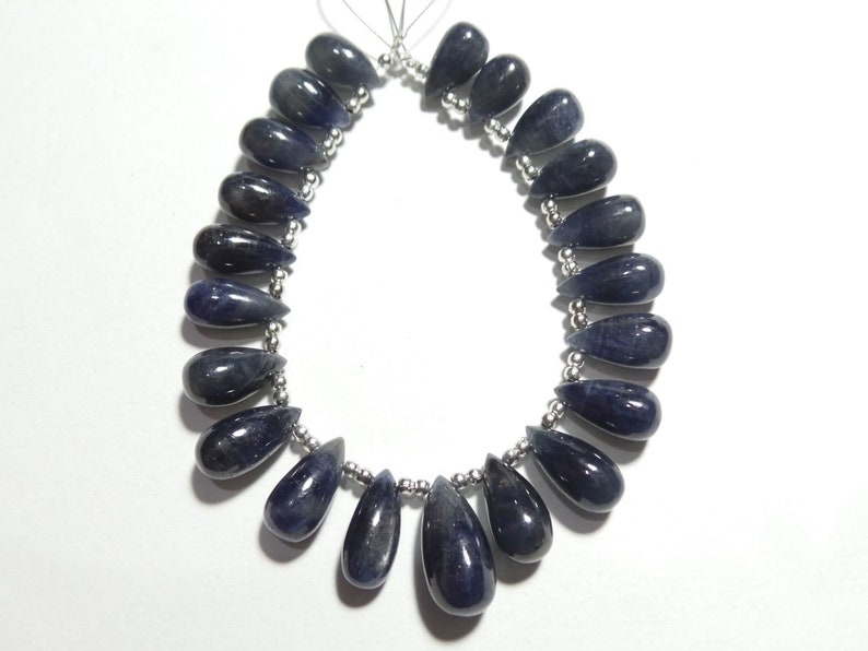 Natural Blue Sapphire Smooth Tear Drops Briolettes Blue Sapphire Drops For jewelry Making Loose Gemstone Stone size - 12x7-17.5x8 MM