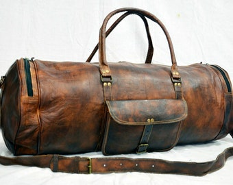 Bag Leather Duffle Travel Men Gym Luggage S Vintage Weekend Genuine Overnight
