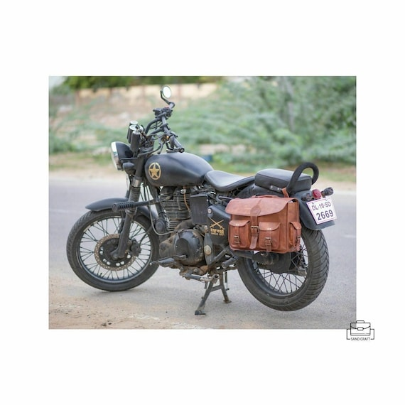 Motorcycle Side Pouch Brown Leather Side Pouch Saddlebags Saddle Panniers Motorcycle Bicycle Bike
