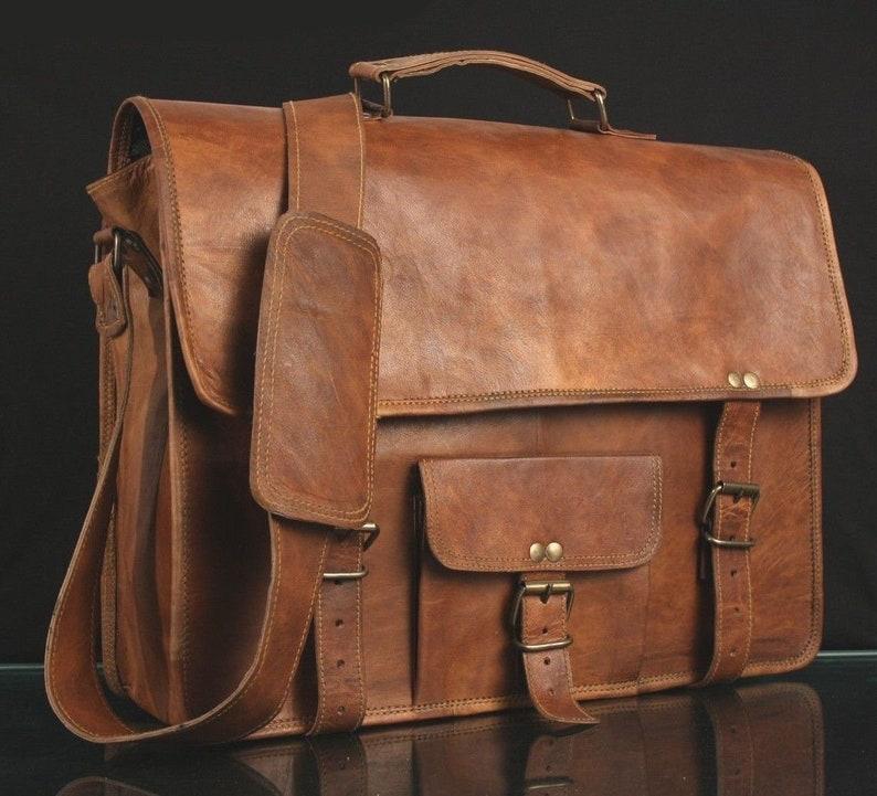 Mens Genuine Vintage Leather Satchel Messenger Man Hand Bag Laptop Briefcase Bag