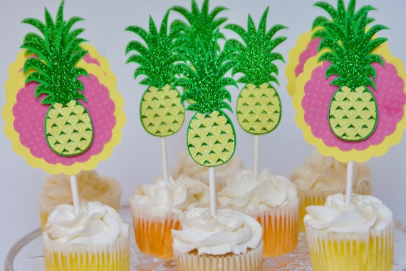 Pineapple Cupcake Toppers Birthday Luau Party 1st