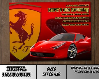Ferrari Digital Party Invitation Customize Birthday or thank you card 6213f00d0