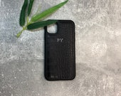 iPhone 11 genuine leather phone case personalised with name or initials phone case customised phone cover