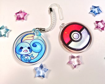 """Cute Sobble in a pokeball phonestrap, kawaii two-sided 1.5"""" acrylic charm keychain with glitter epoxy game creature 1st gen starter"""