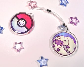 """Cute Wooloo in a pokeball phonestrap, kawaii two-sided 1.5"""" acrylic charm keychain with glitter epoxy game creature 1st gen starter"""