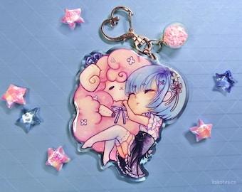 """Re:Zero REM 3"""" acrylic keychain, sleeping rem hugging ram plushie, large kawaii double-sided Chibi anime girl charm with glitter epoxy"""
