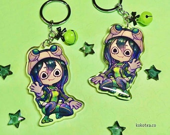 "Hero Academia: Tsuyu Asui 3"" acrylic keychain, large kawaii double-sided Chibi BNHA Froppy anime girl charm with glitter epoxy"