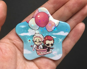 Good Omens 2.25 star-shaped Holographic button + FULL SET postcard, sticker button