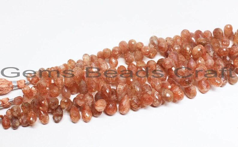 Sunstone Faceted Beads Sunstone AA Quality Gemstone Beads  Bead Size 6x8-7x10 mm Sunstone Drops Shape Beads