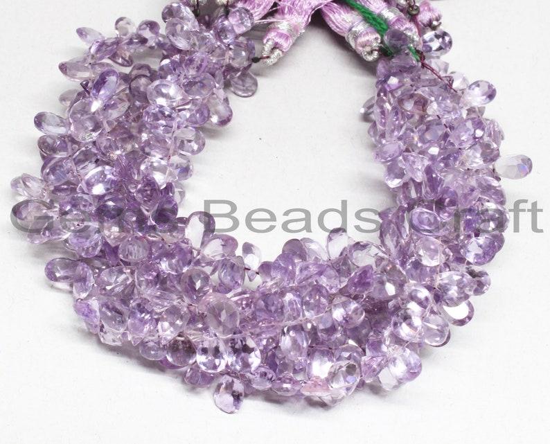 5x7 mm Pink Amethyst AA Quality Gemstone Beads  Bead Size Pink Amethyst Faceted Beads Pink Amethyst Cut Pear Shape Beads