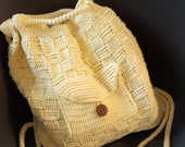 Backpack yellow cotton relief print