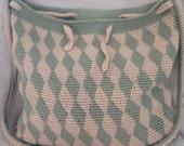 Bag crocheted: green-yellow, ecological yarn tencel