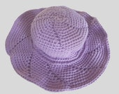 Crocheted summery sun hat, yellow hat, purple hat, red, white, rose, pure cotton, ribbon yarn, retro look, brimmed style, vintage