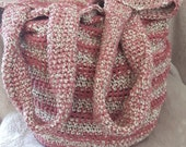 Bag crocheted: rose with brown tint