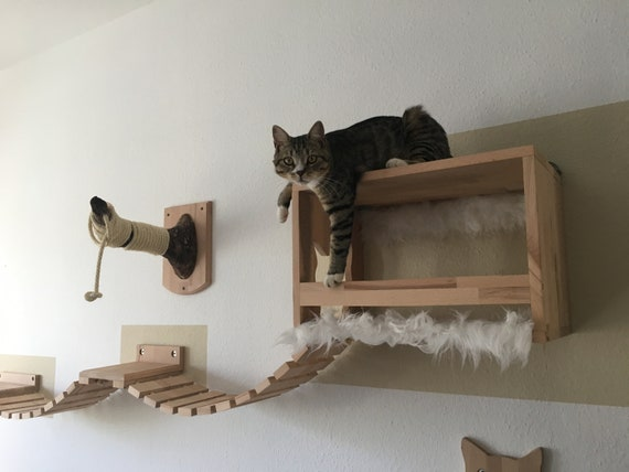 Catwalk-sleeping house-Cat ladder-Wandpark-cat-scratching post left
