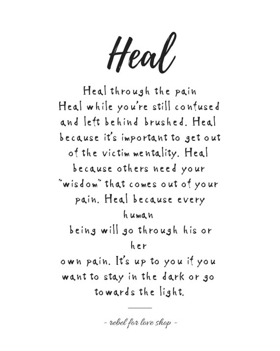 Printable Quote Art Heal Instant Download Emotional Etsy