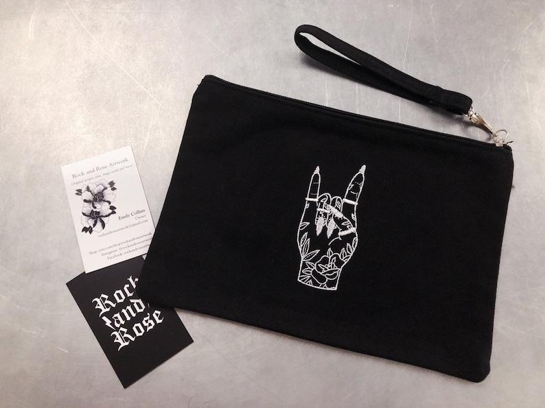 Rock On Tattooed Hand Cotton Clutch Bag