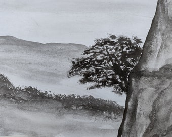 Chinese Mountains Inspired Painting | Peaceful and Tranquil Landscape | Black & White | Art direct from UK Artist. | Free Worldwide Shipping