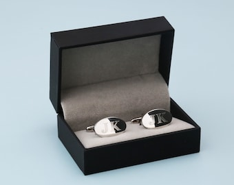 Groomsmen Gift Mens Gift  - Personalized Cufflinks with Box Oval Cufflinks Rectangle Cufflinks