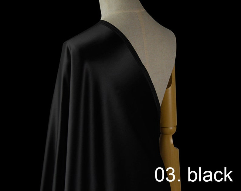 shirts pants silk wool satin fabric pure solid fabric 55 width NO.03 black color for evening dress sell by the yard wedding dress