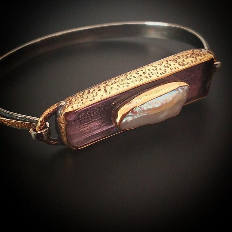 Natural Stone Lithium Amethyst  Bracelet Pink Kunzite Stone and Pearl Silver Cuff Bracelet and Chakra Bracelet Custom Design Bracelet