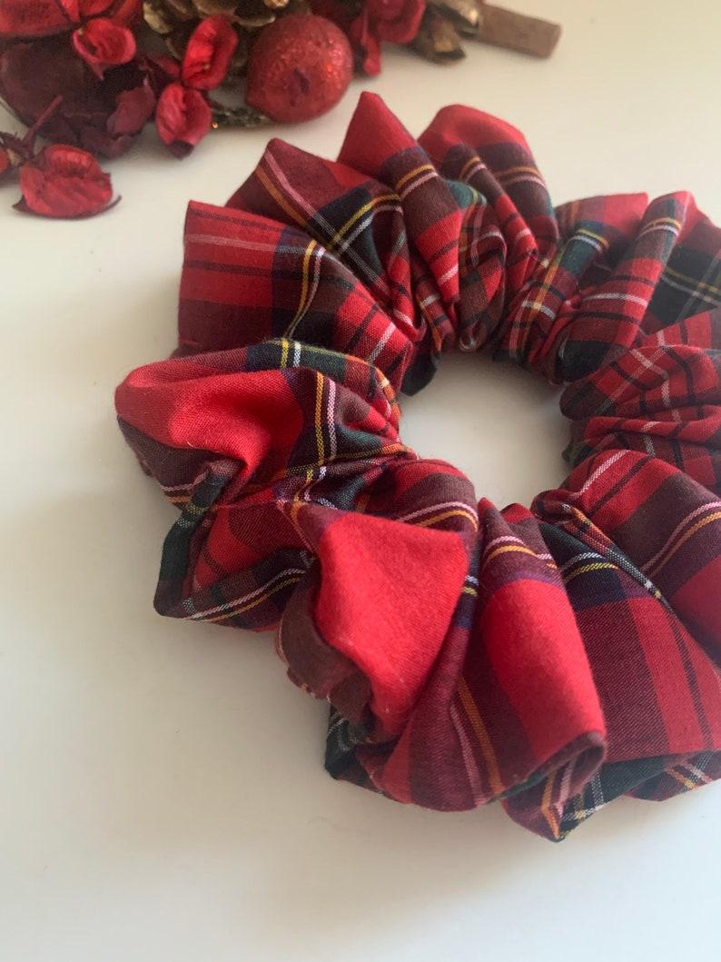 Lady Sarah large red and black tartan plaid hair scrunchie