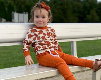 Fall jogger and sweatshirt set, fall leaves dolman top, rust joggers, fall toddler clothing set, rust fall top & bottom, fall leaves shirt