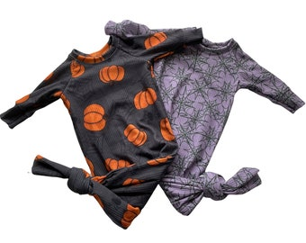 Halloween Knotted Gown Set, new baby Knotted Gown, Going home set, halloween hospital outfit, october baby, pumpkin and spiderwebs baby set