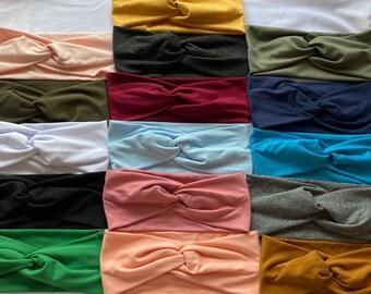 Solid colored womens headbands, girls twisted wide headband, turbans, everyday headband, workout yoga turban headband, solid color headbands